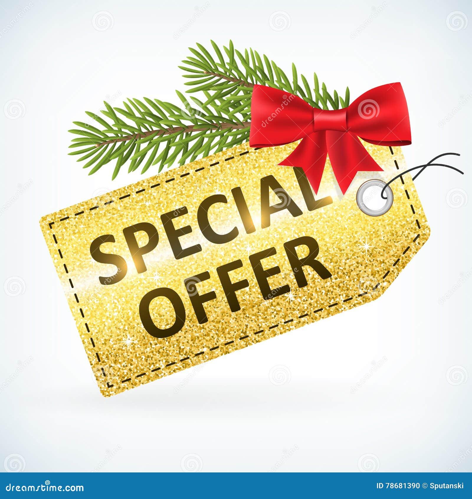 圣诞节金黄闪烁特价优待企业销售标签