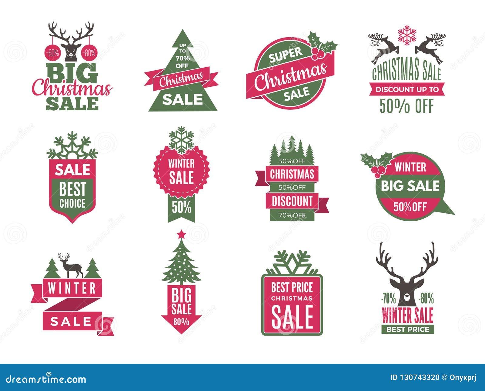 圣诞节销售标记徽章 假日最好提供与大折扣传染媒介模板收藏的标签