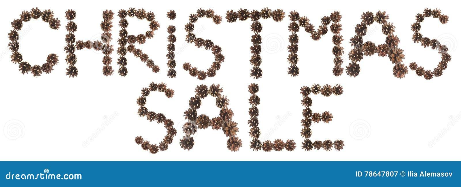 圣诞节销售词组由杉木锥体制成