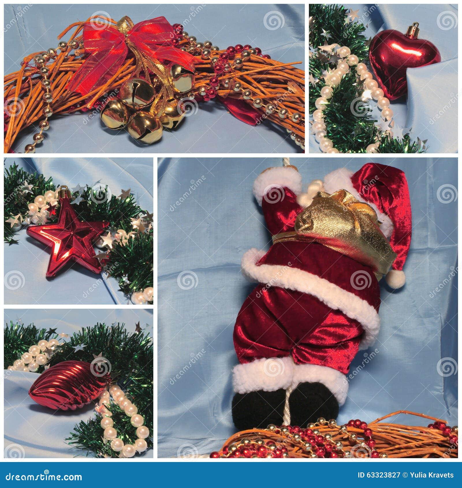 圣诞节题材拼贴画 圣诞老人和装饰 红色和浅兰
