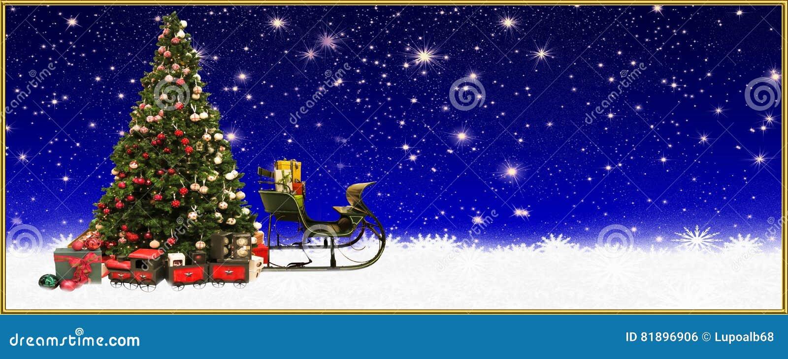 圣诞节:圣诞树和圣诞老人` s雪橇,横幅,背景
