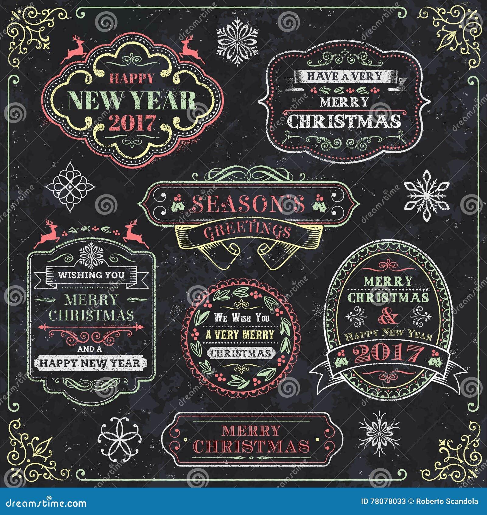 圣诞节黑板传染媒介标签