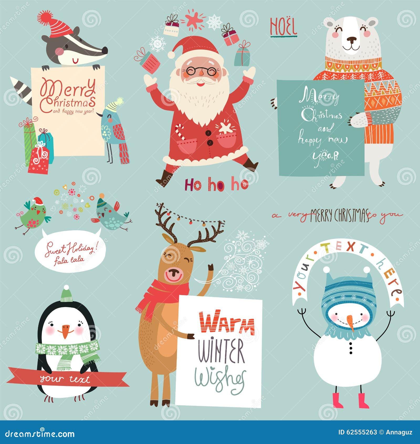 圣诞节holidsys设置与逗人喜爱的字符