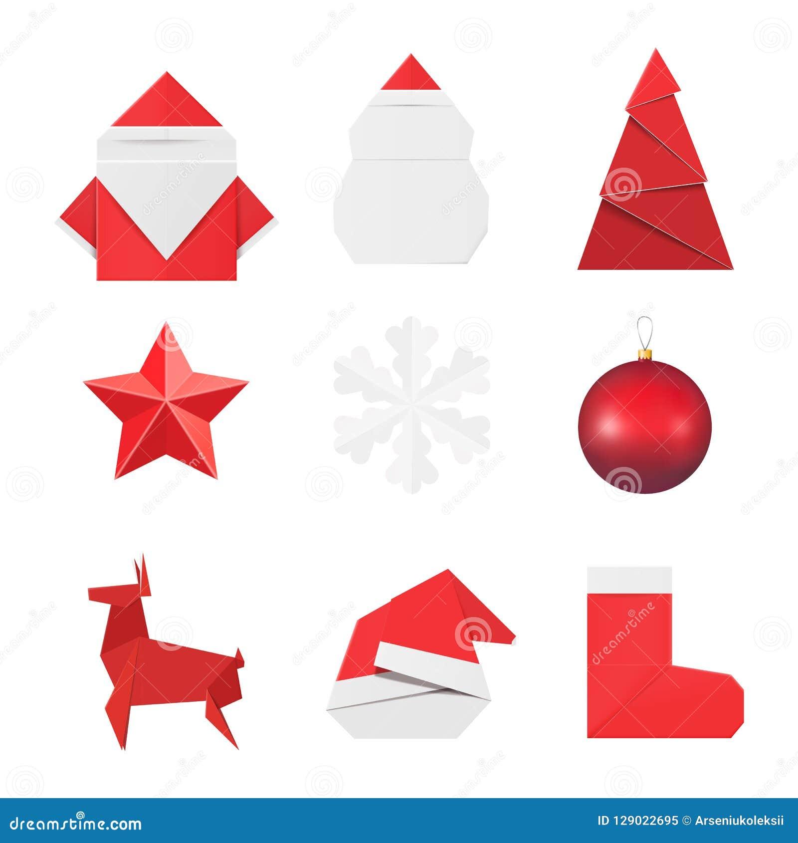 圣诞节origami装饰品和装饰:纸圣诞老人和雪人,冷杉,星,雪花,玻璃球玩具,鹿红色帽子和