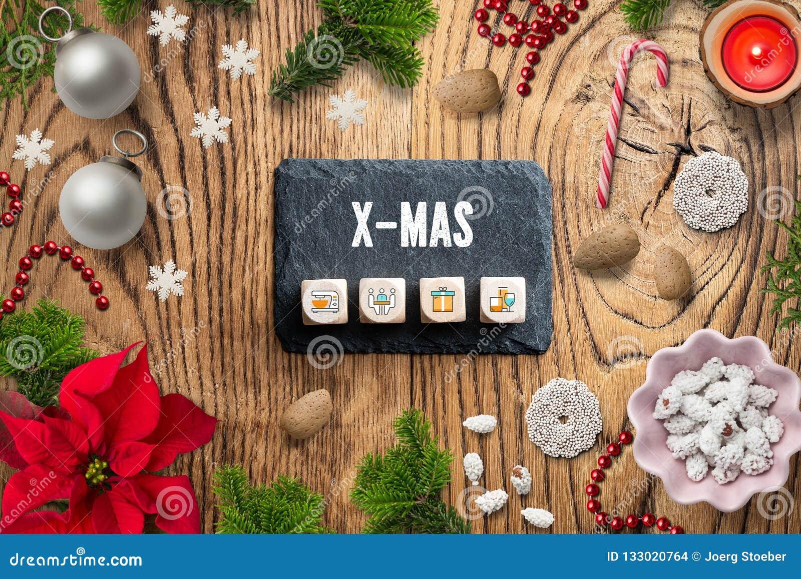 圣诞装饰和消息'X-MAS'