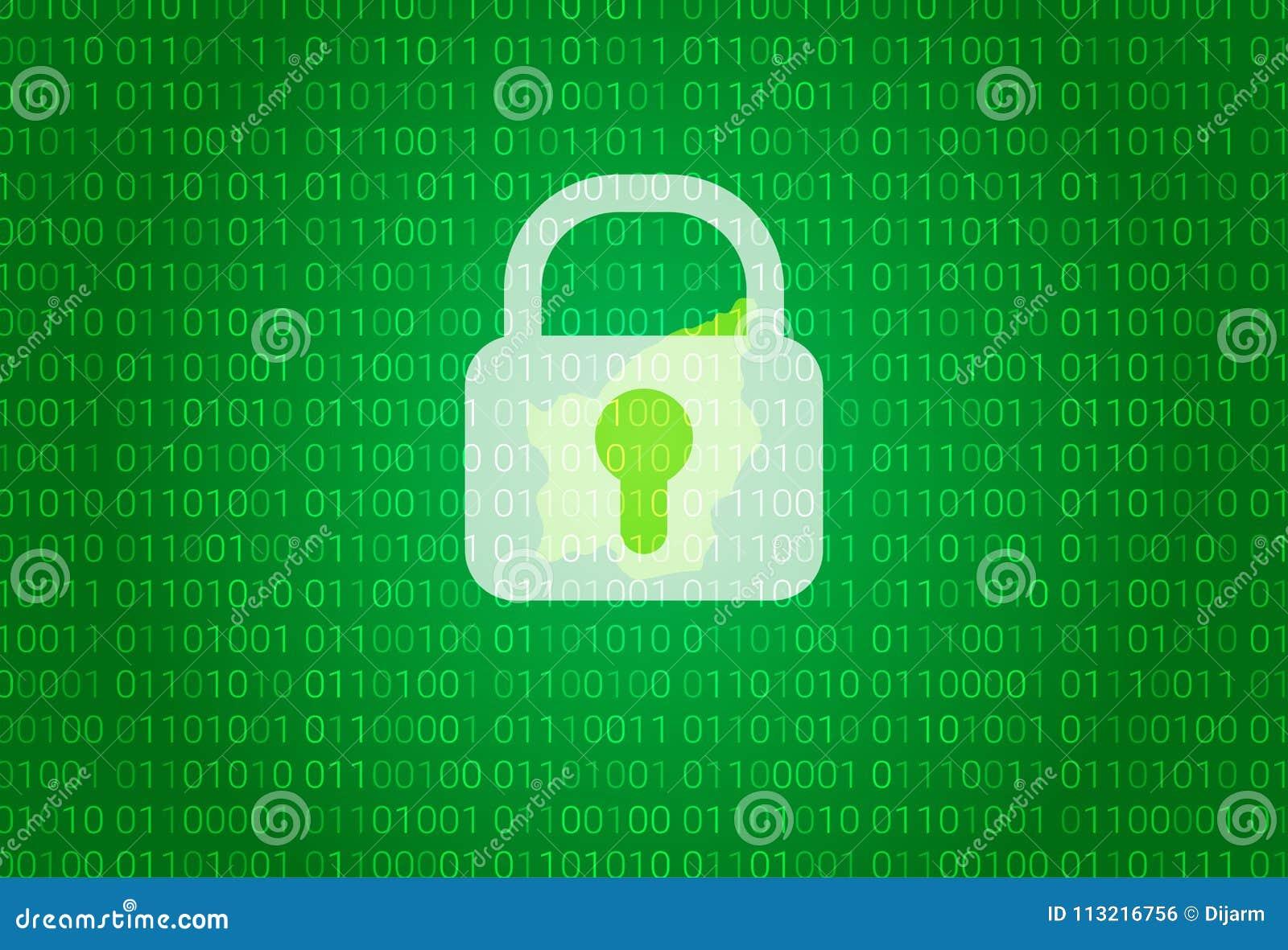 圣马力诺地图  例证有锁和二进制编码背景 阻拦的互联网,病毒攻击,保密性保护