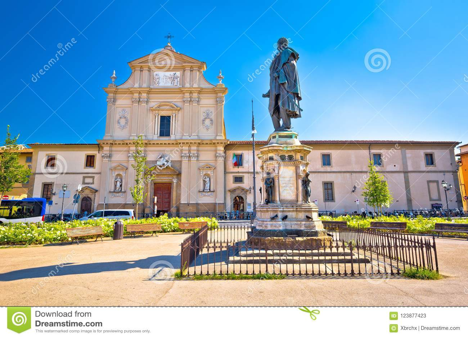 圣马可广场广场和教会佛罗伦萨建筑学视图的