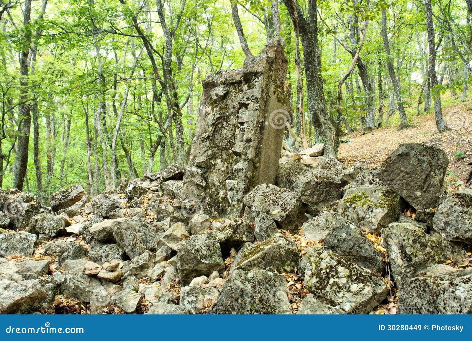圣Iliya教会的废墟在森林里