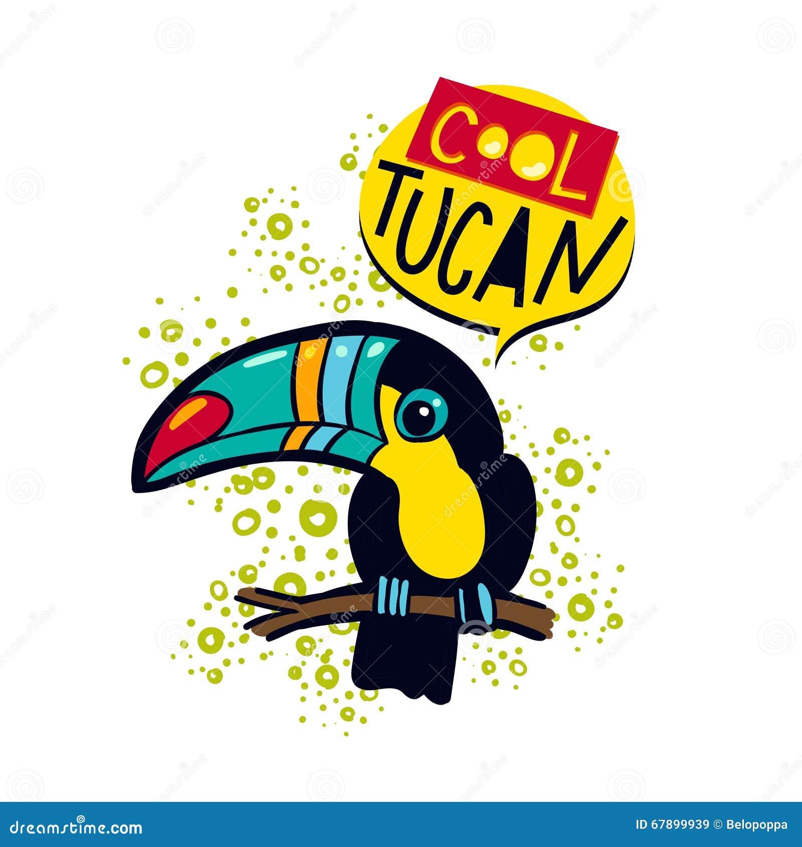 在一个分支的词组凉快的toucan鸟在密林