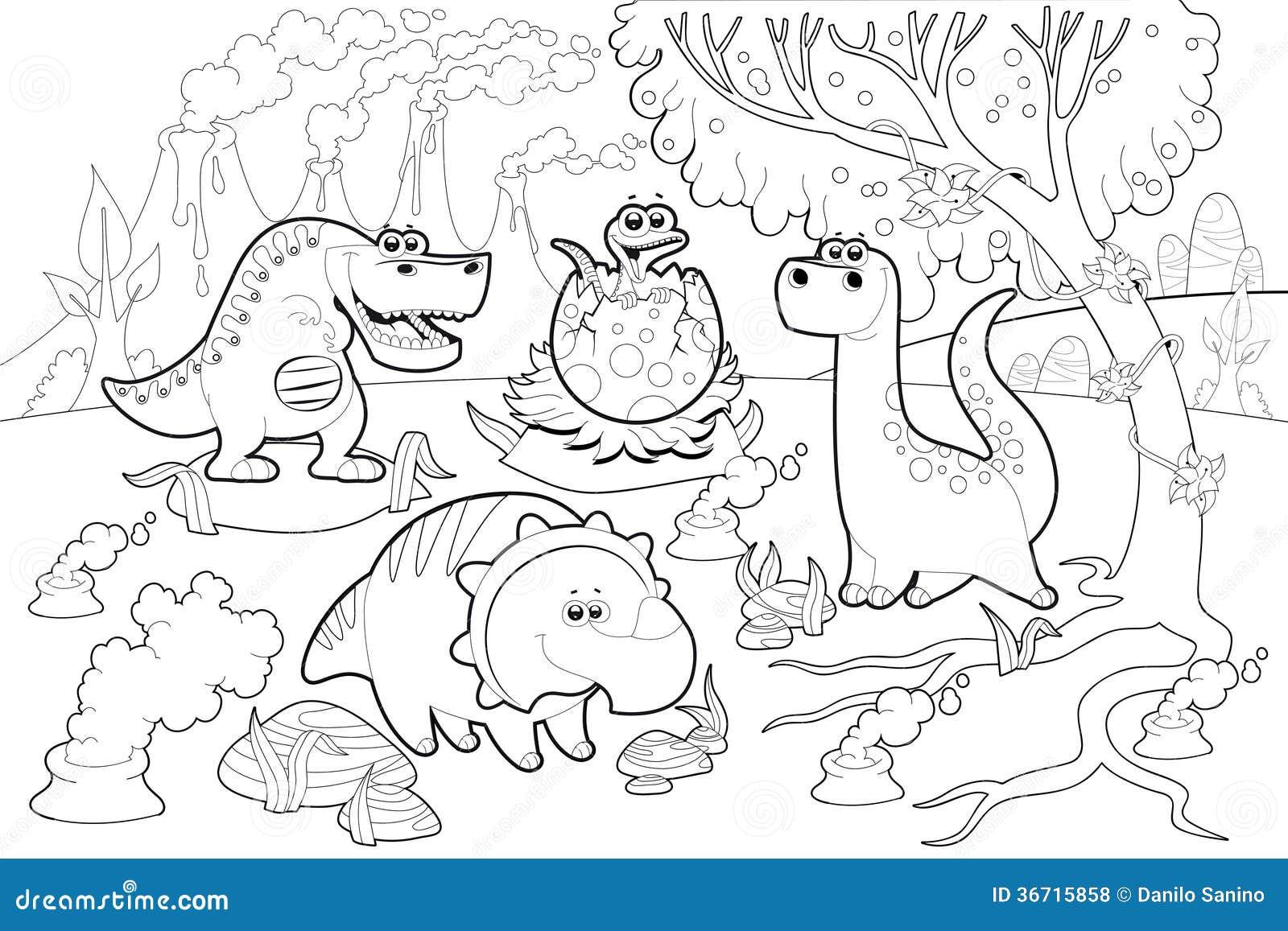 在一个史前风景的滑稽的恐龙,黑白。
