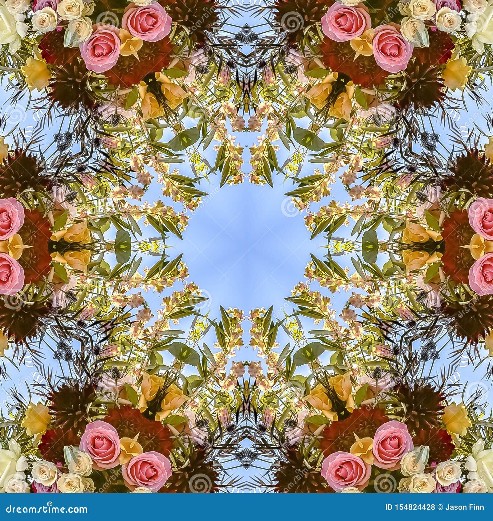 在一个圆样式的正方形繁忙的花卉设计与玫瑰和其他花