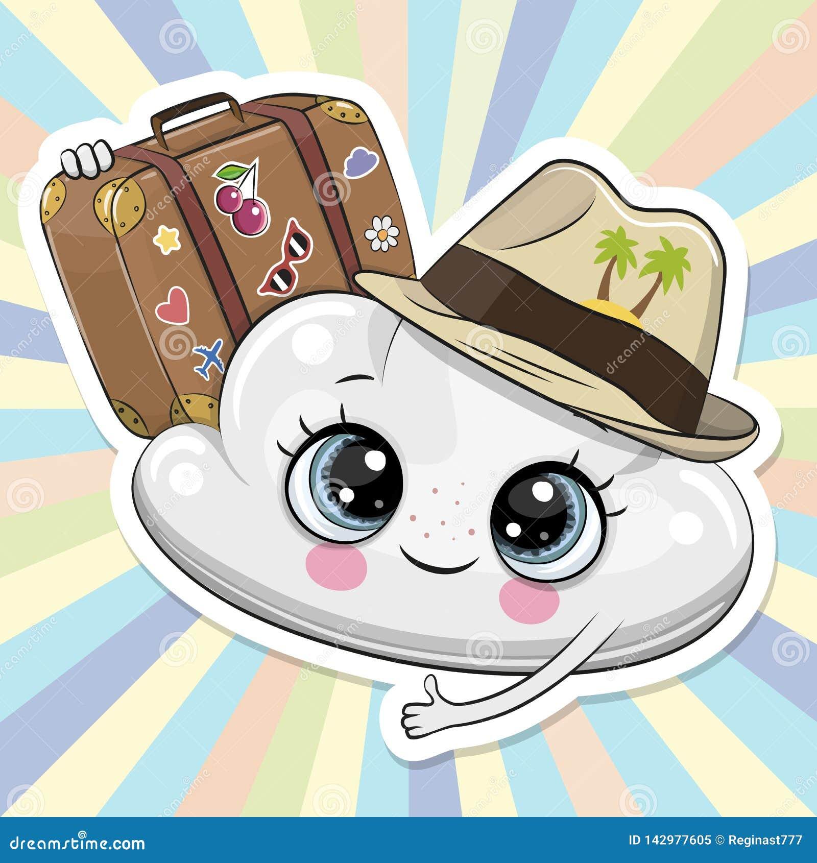 在一个帽子的动画片云彩有行李的