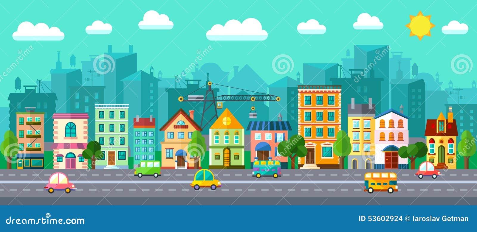 在一个平的设计的城市街道