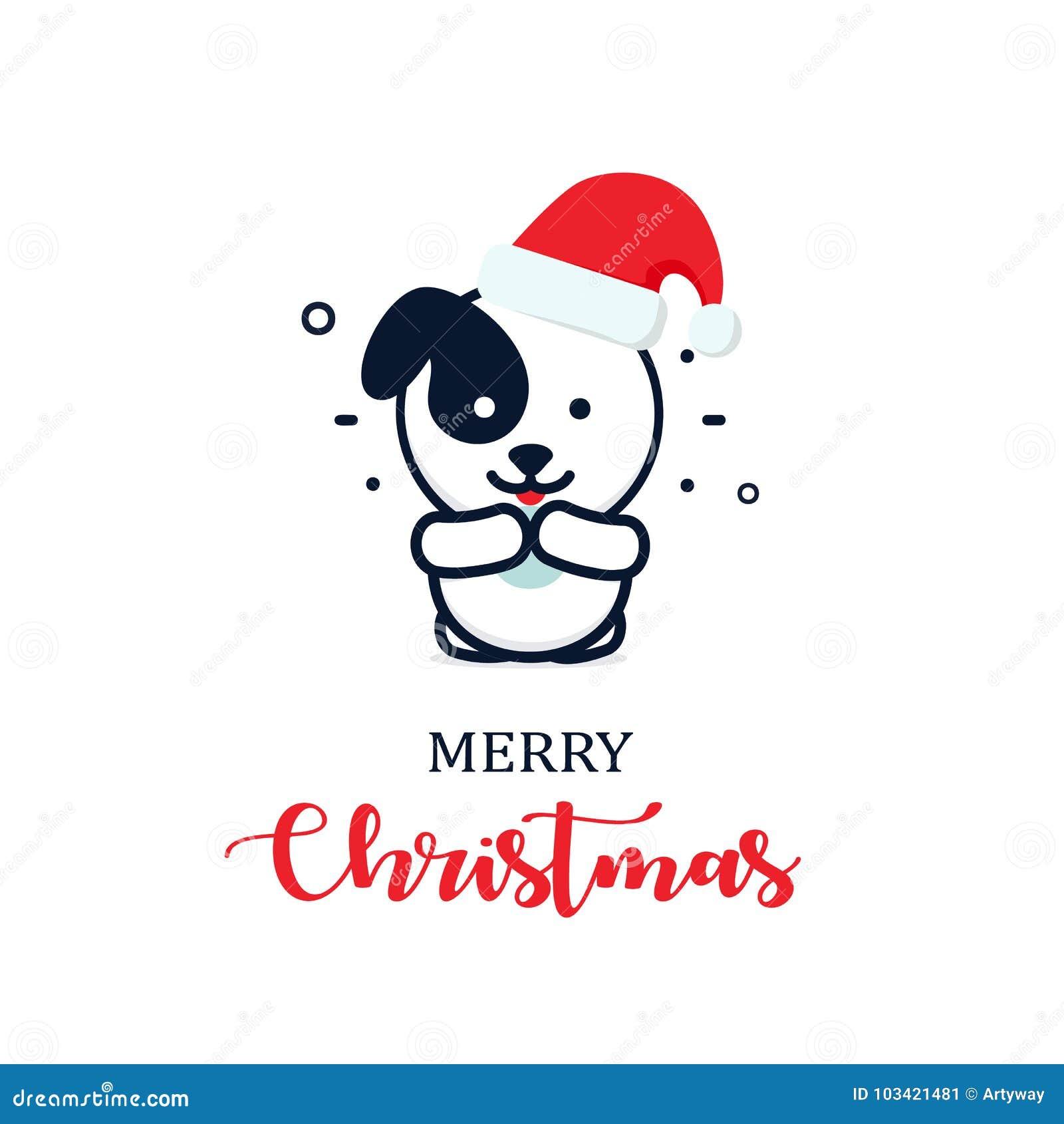 在一个新年帽子的逗人喜爱的小狗 圣诞节字符例证 新年传染媒介minimalistic商标