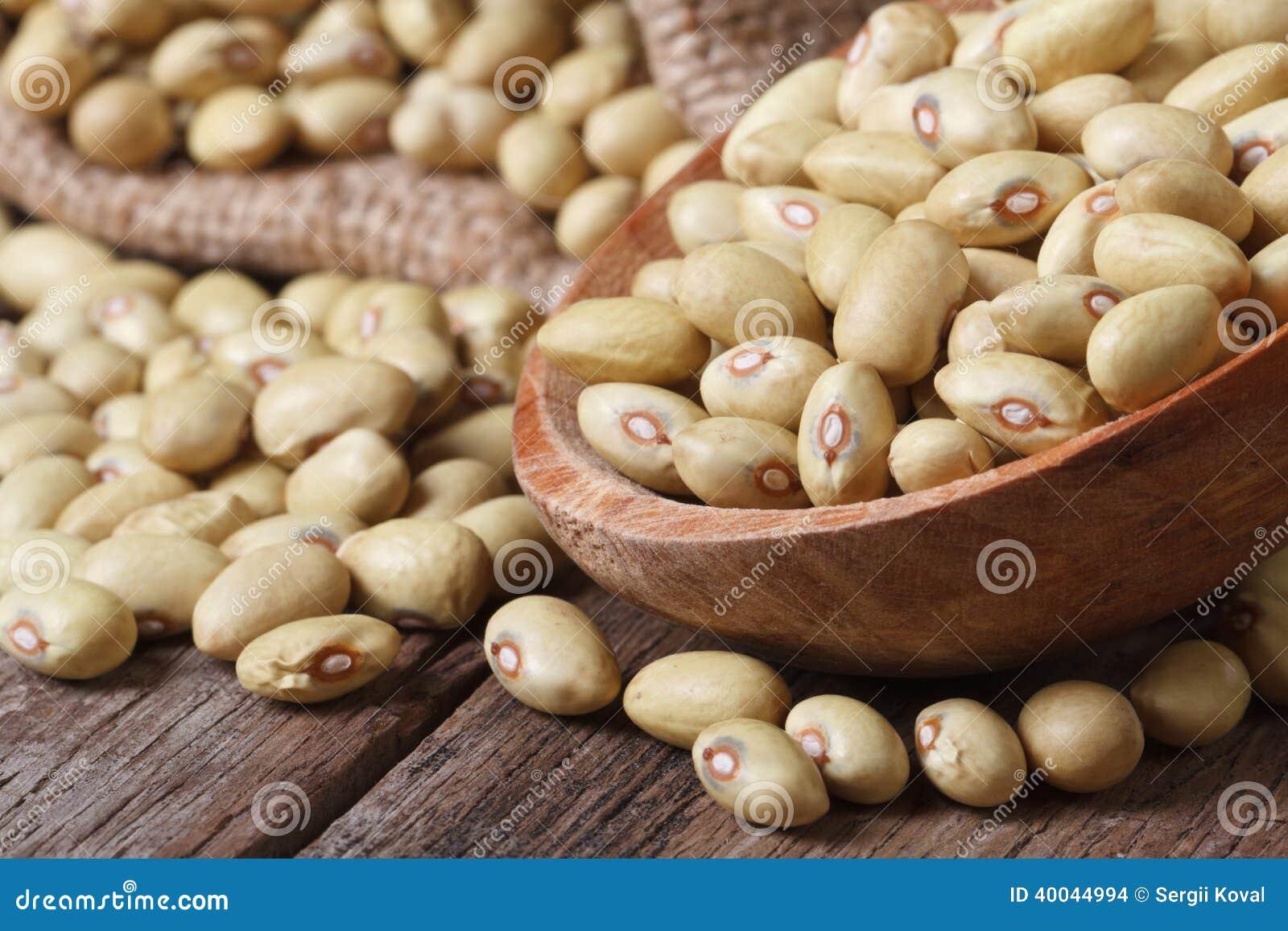 在一个木匙子特写镜头的未加工的淡黄的扁豆