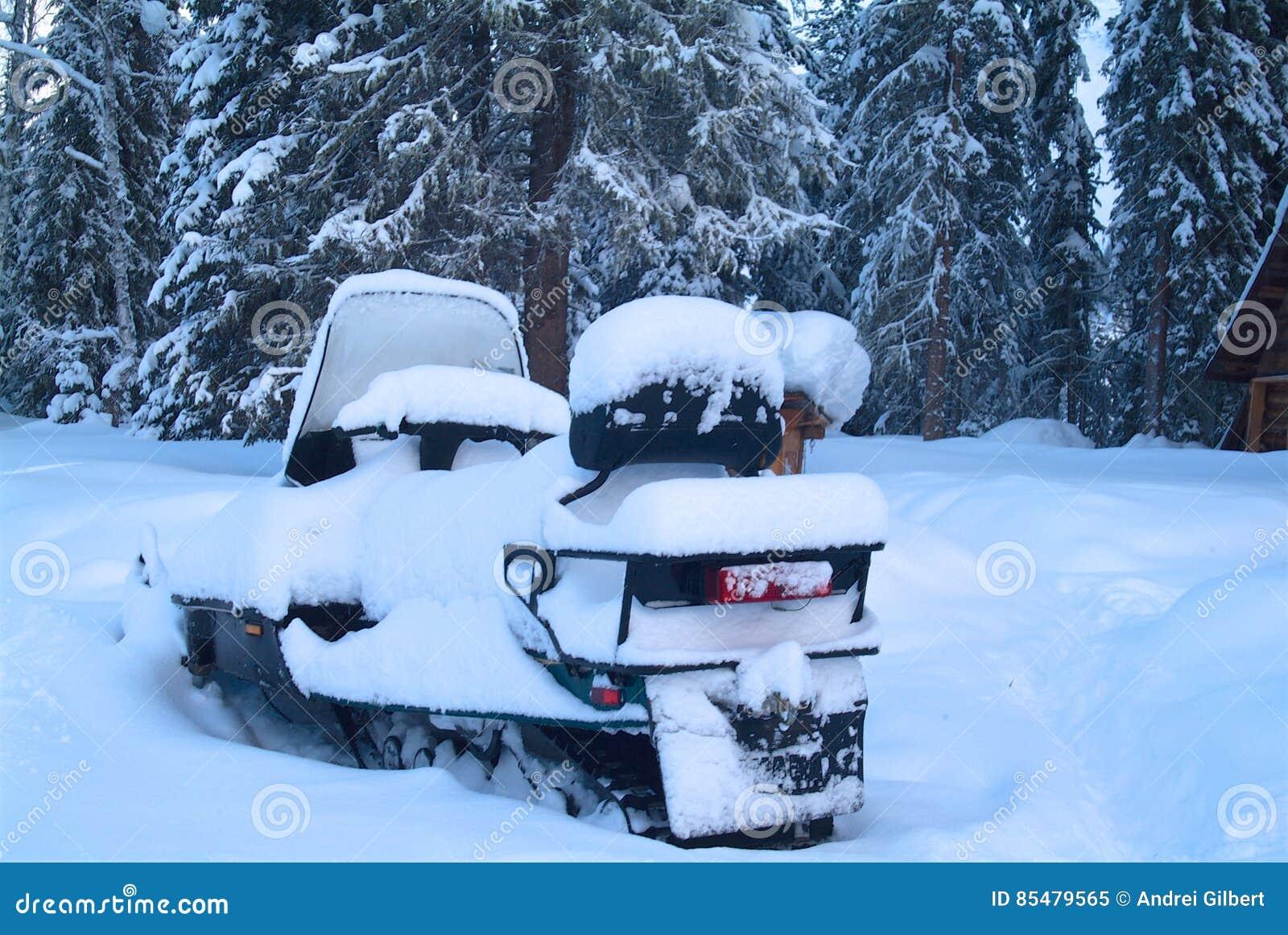 在一个木房子附近的斯诺伊雪上电车在森林