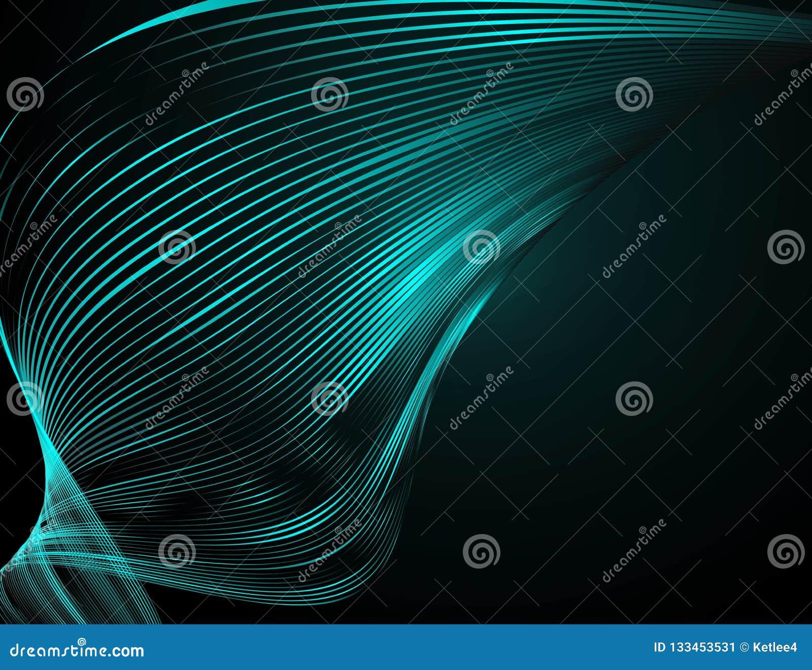 在一个深蓝背景未来派技术例证设计的摘要明亮的波浪线波浪线的样式