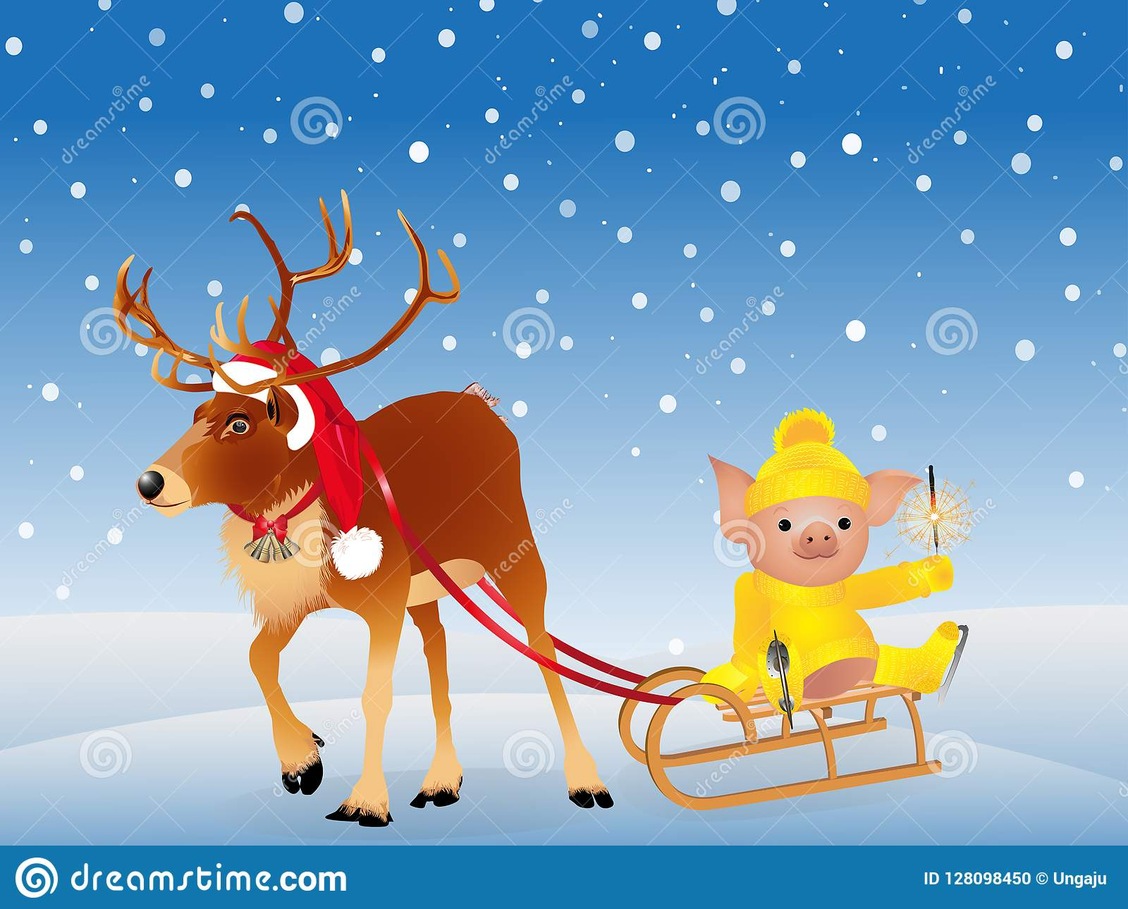 在一个滑稽的圣诞老人` s红色盖帽的鹿 在毛线衣的猪在冰鞋 2019年猪的农历新年 背景查出的白色 Vecto