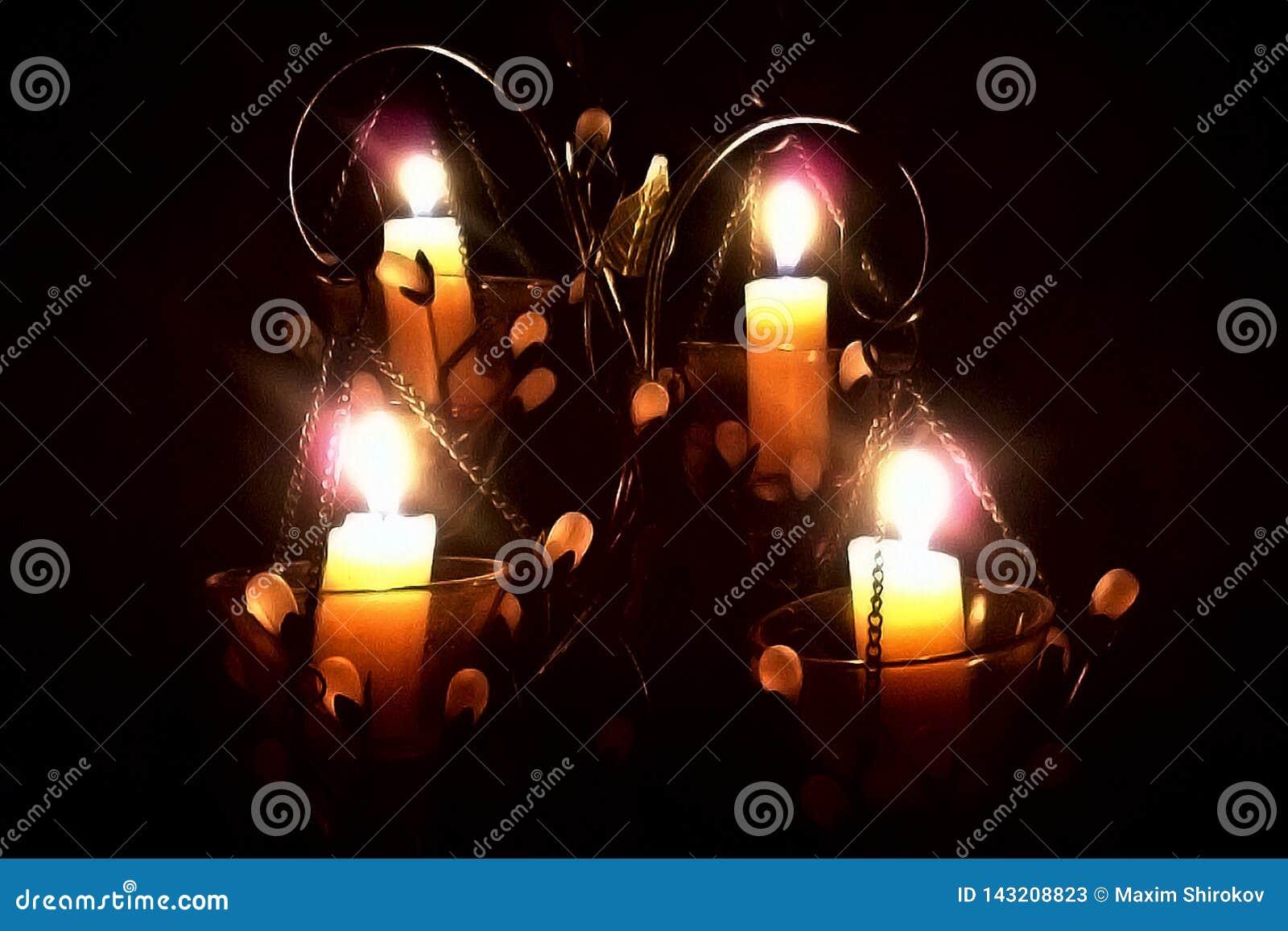 在一个烛台的蜡烛在黑背景