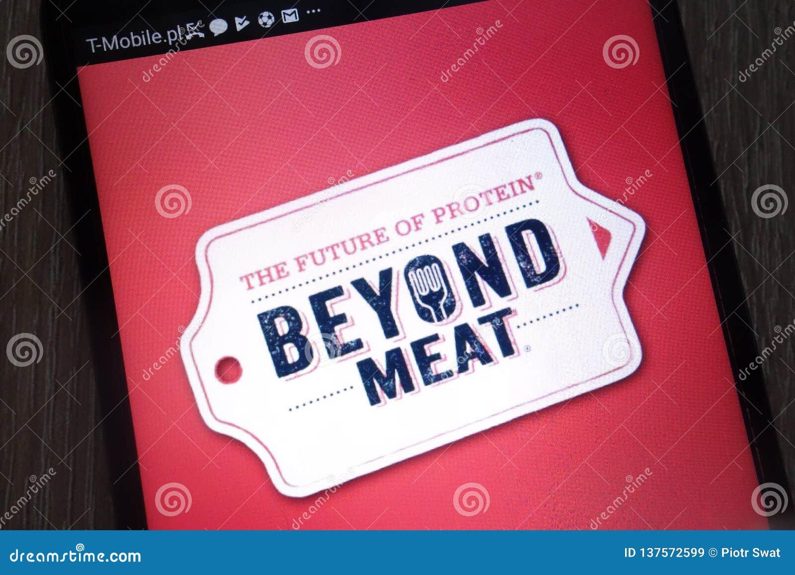 在一个现代智能手机显示的肉商标之外