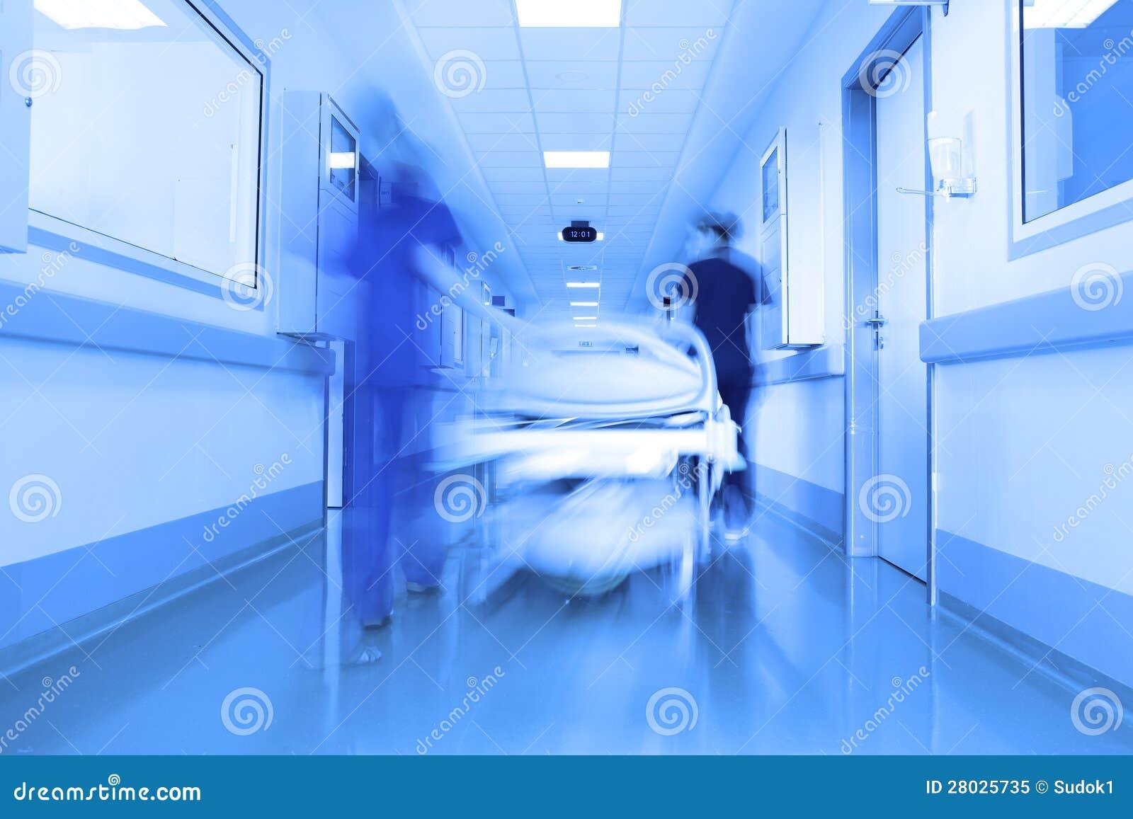 在一个现代诊所走廊的河床