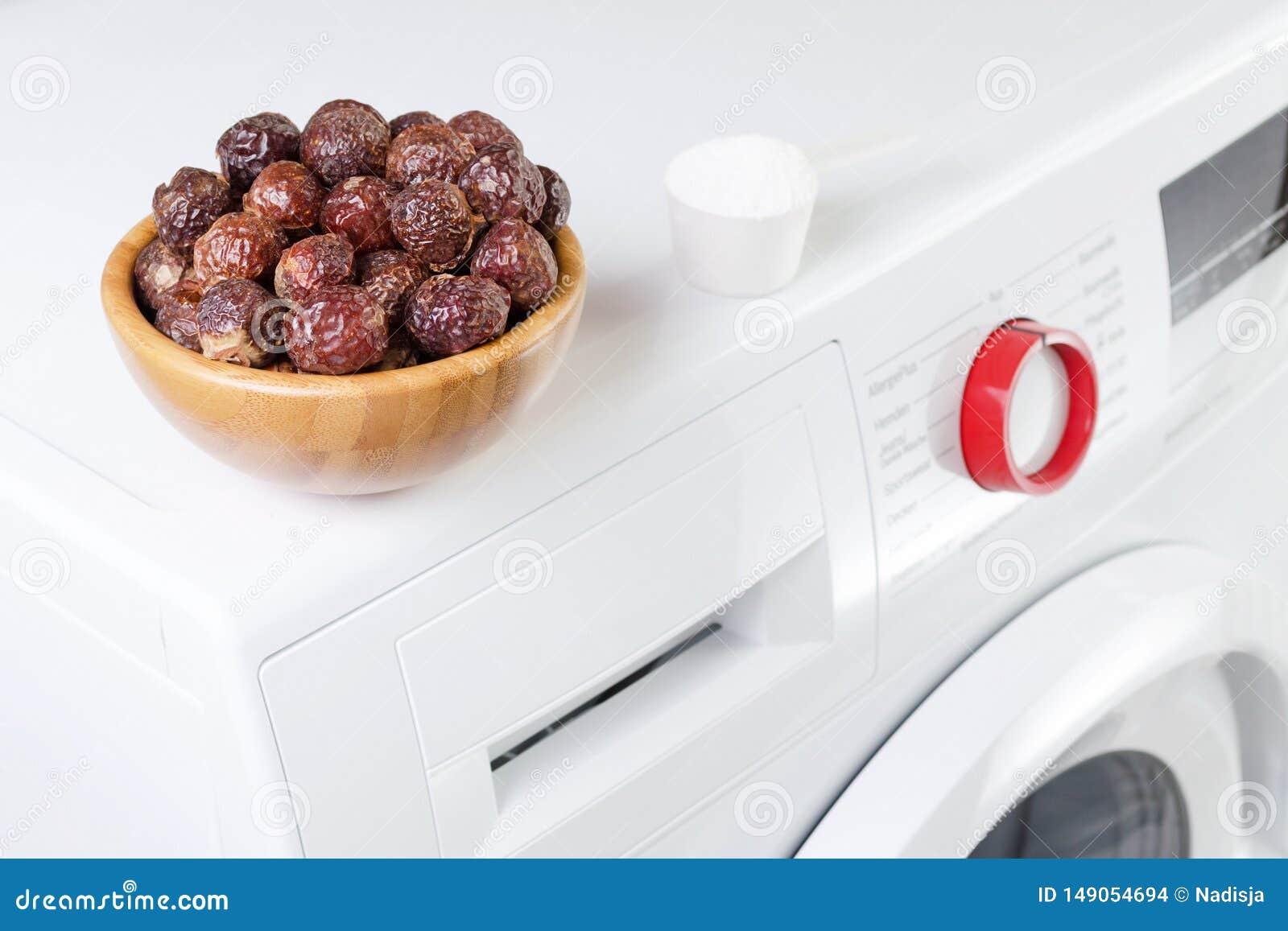 在一个碗的肥皂坚果在洗衣机和洗涤剂粉末,选择聚焦