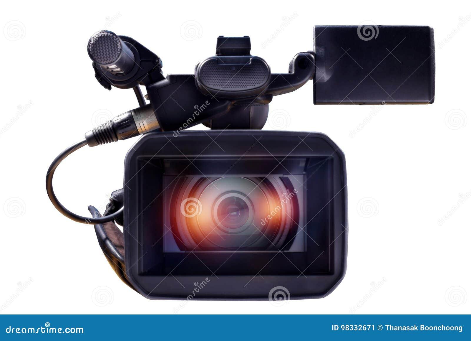 在一个空白背景的专业摄象机