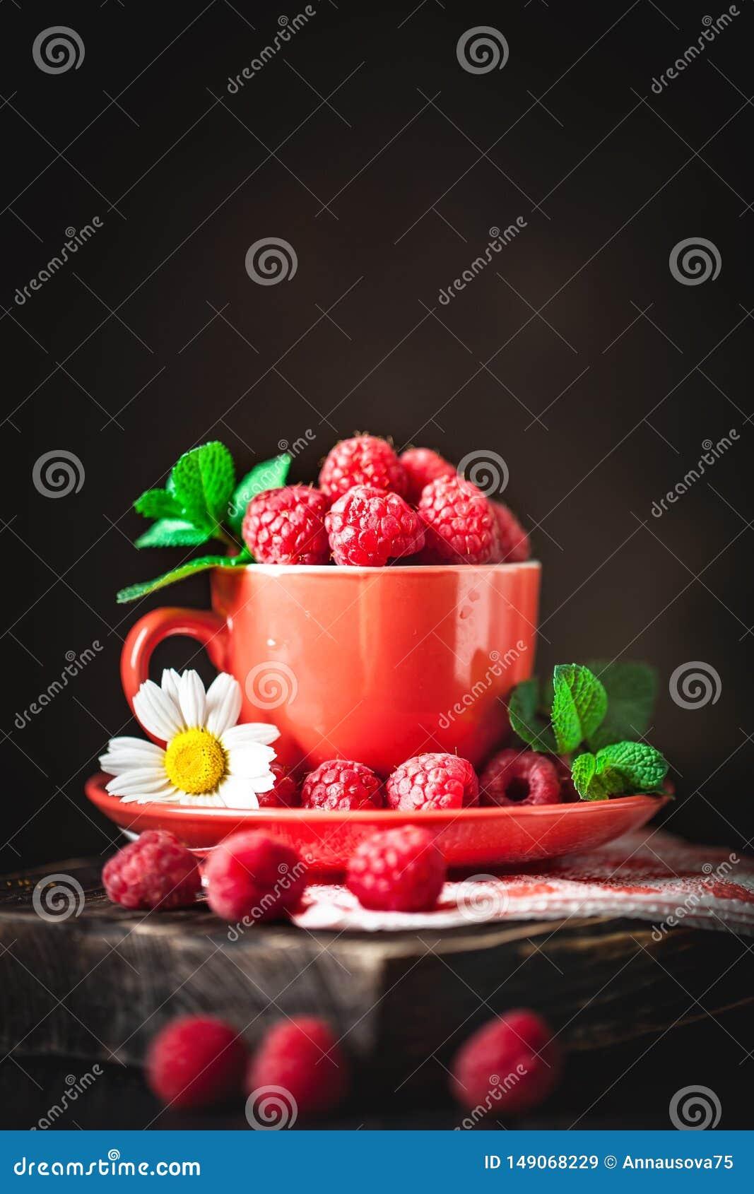 在一个红色杯子的莓有春黄菊和叶子的在黑暗的背景 夏天和健康食品概念 r