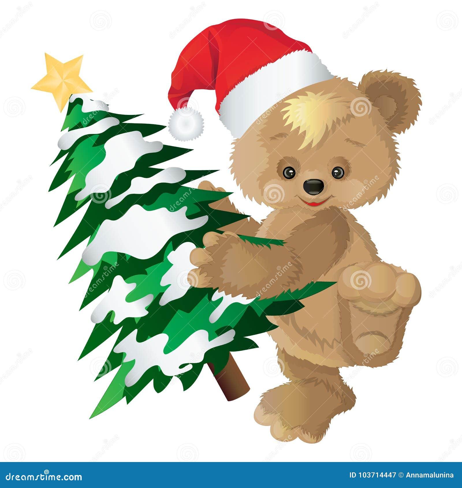 在一个红色盖帽的逗人喜爱的熊有新年` s冷杉木的