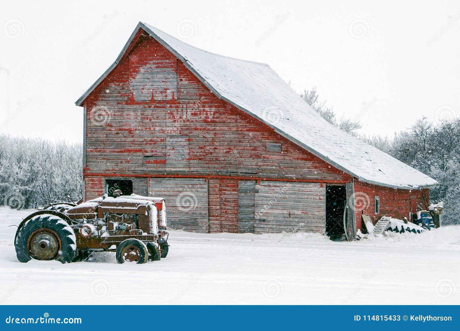 在一个老红色谷仓前面的葡萄酒拖拉机雪的