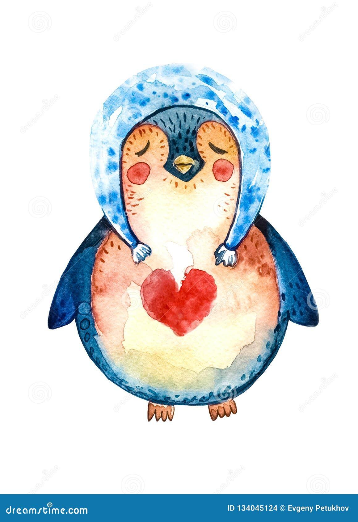 在一个蓝色帽子的动画片企鹅和在他的胸口的一红心,结束了爱他的眼睛和梦想  奶油被装载的饼干 查出的对象
