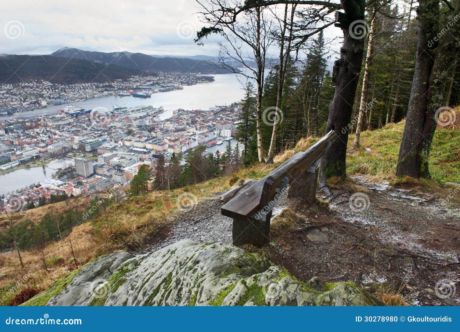 从上面卑尔根的长木凳和看法,挪威
