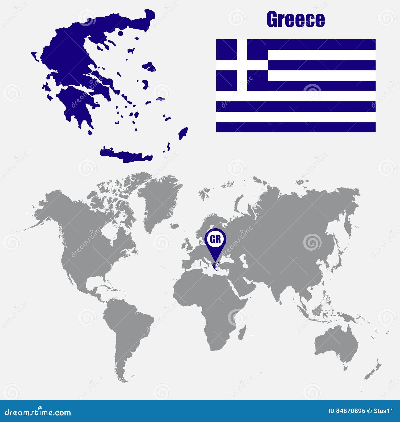 在一张世界地图的希腊地图与旗子和地图尖 也corel凹道例证向量