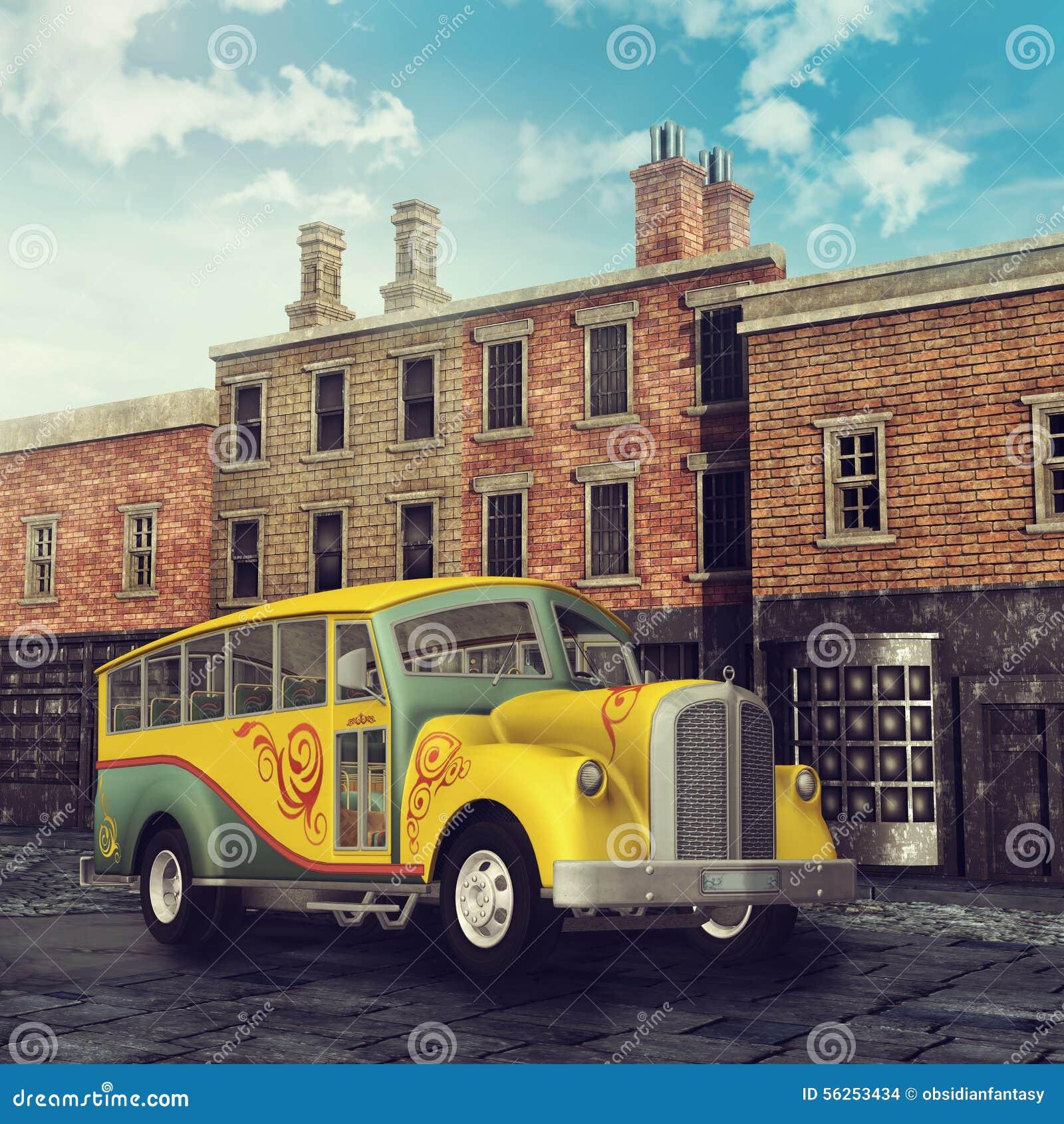 在一条维多利亚女王时代的街道的黄色公共汽车
