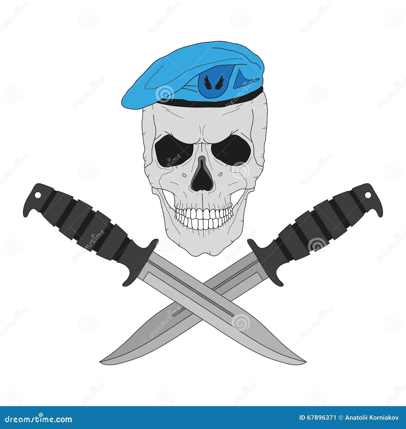 在一顶蓝色贝雷帽的头骨有刀子的