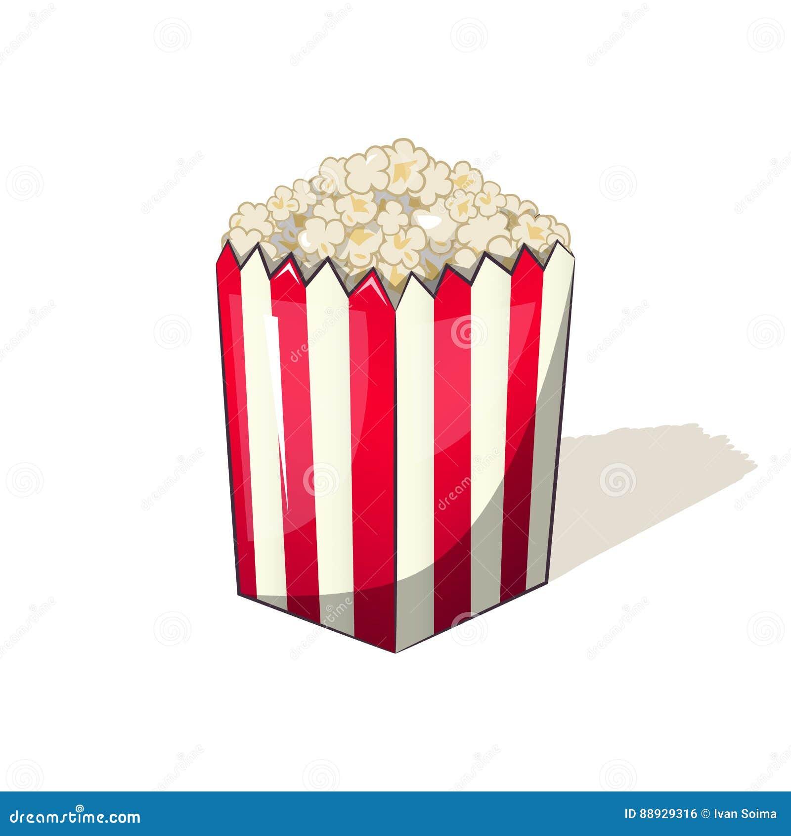 在一顿镶边箱子桶快餐的玉米花,当观看电影时