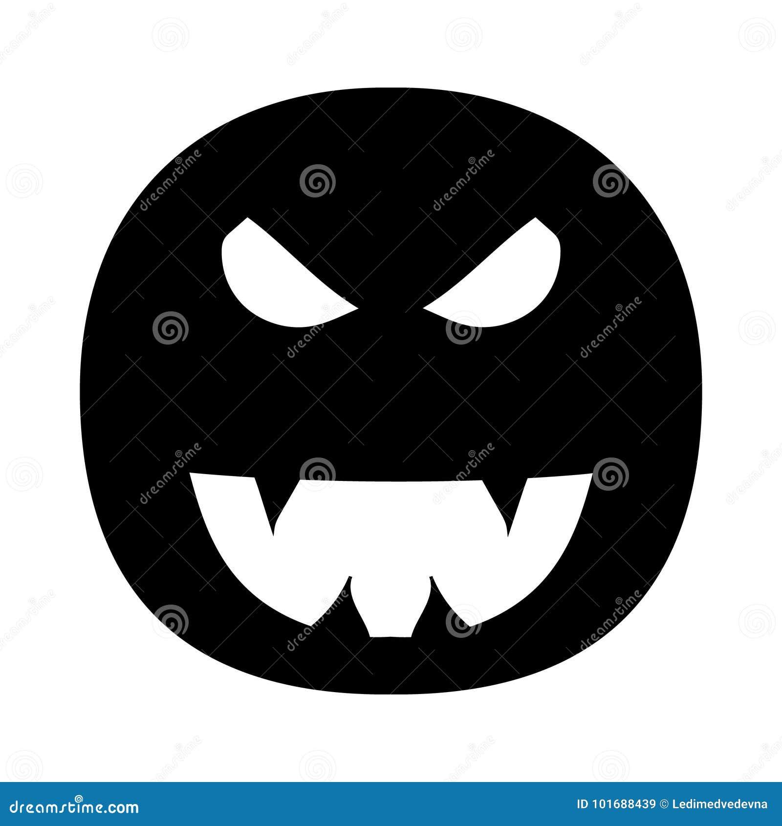 在万圣夜题材的例证  邪恶的微笑的图象与犬齿的 罪恶,可怕的面孔 也corel凹道例证向量