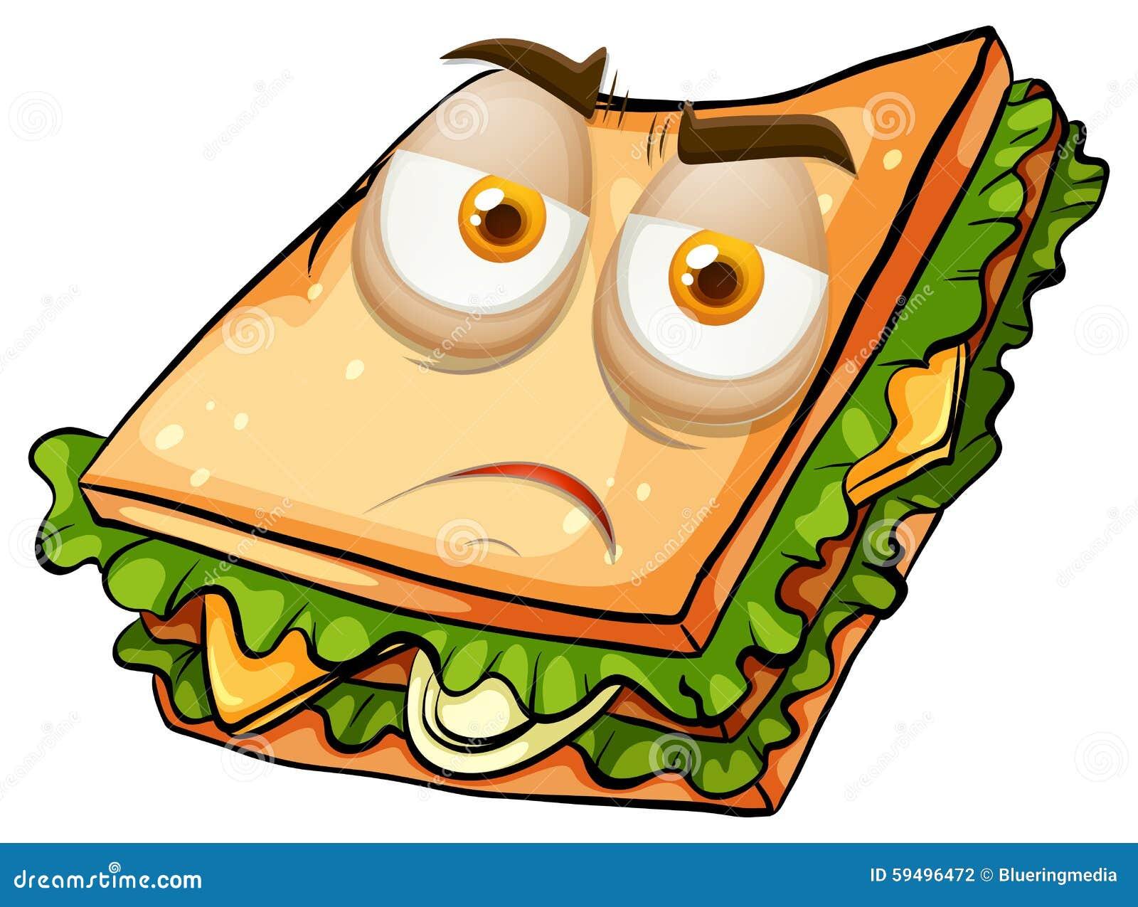 在三明治例证的哀伤的面孔.图片