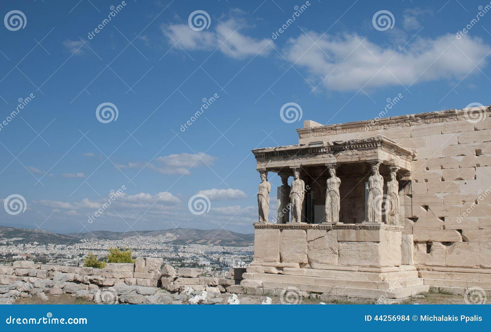 在上城小山,雅典希腊的Erechtheion寺庙
