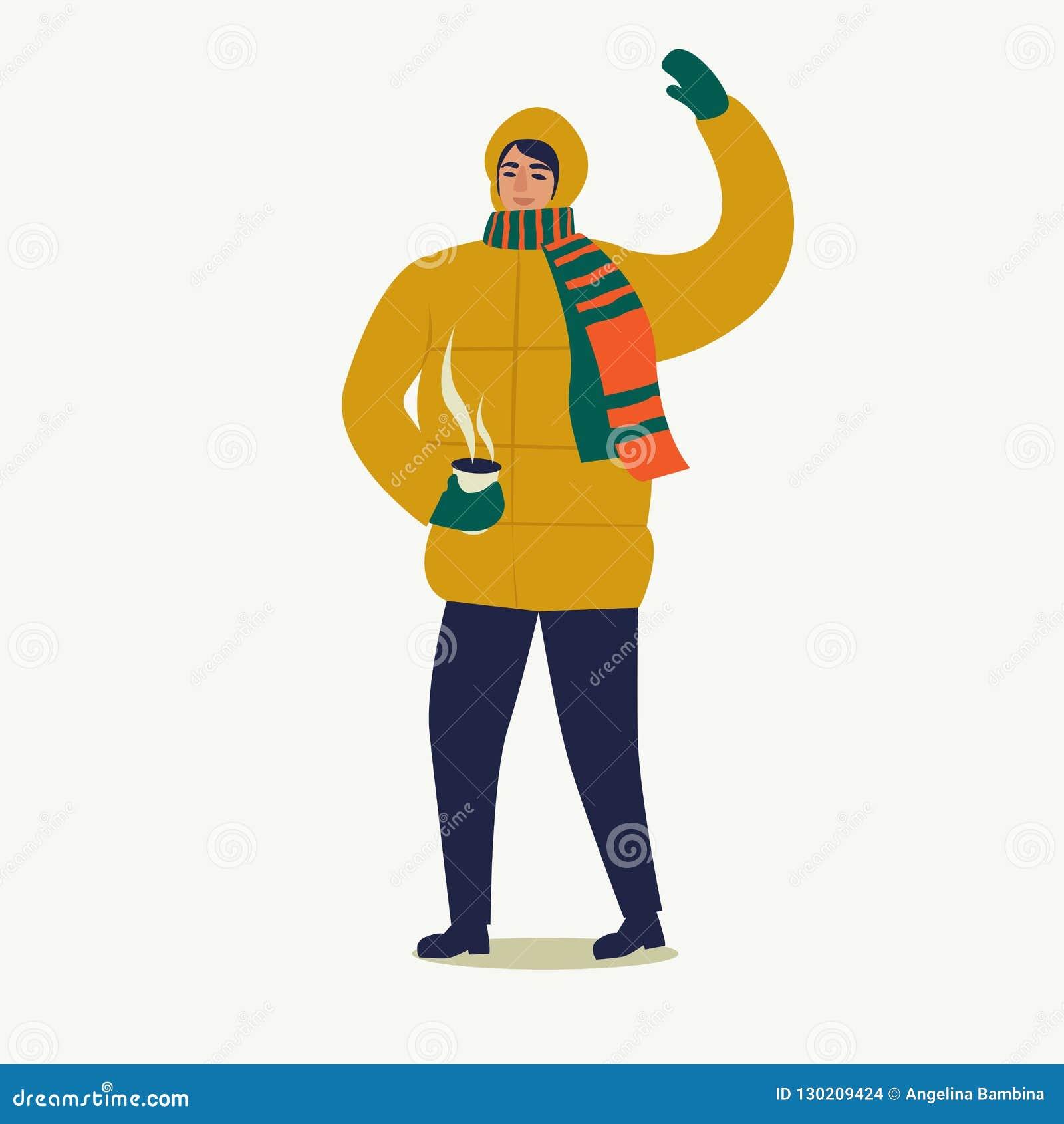 在下来夹克打扮的一个人走与一杯咖啡 圣诞快乐和新年好 人们为新的ye做准备