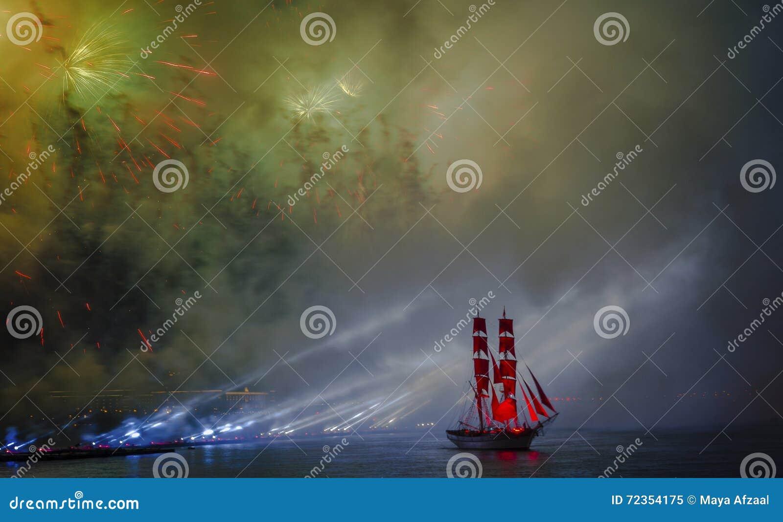 在不眠夜节日期间,庆祝猩红色风帆显示,