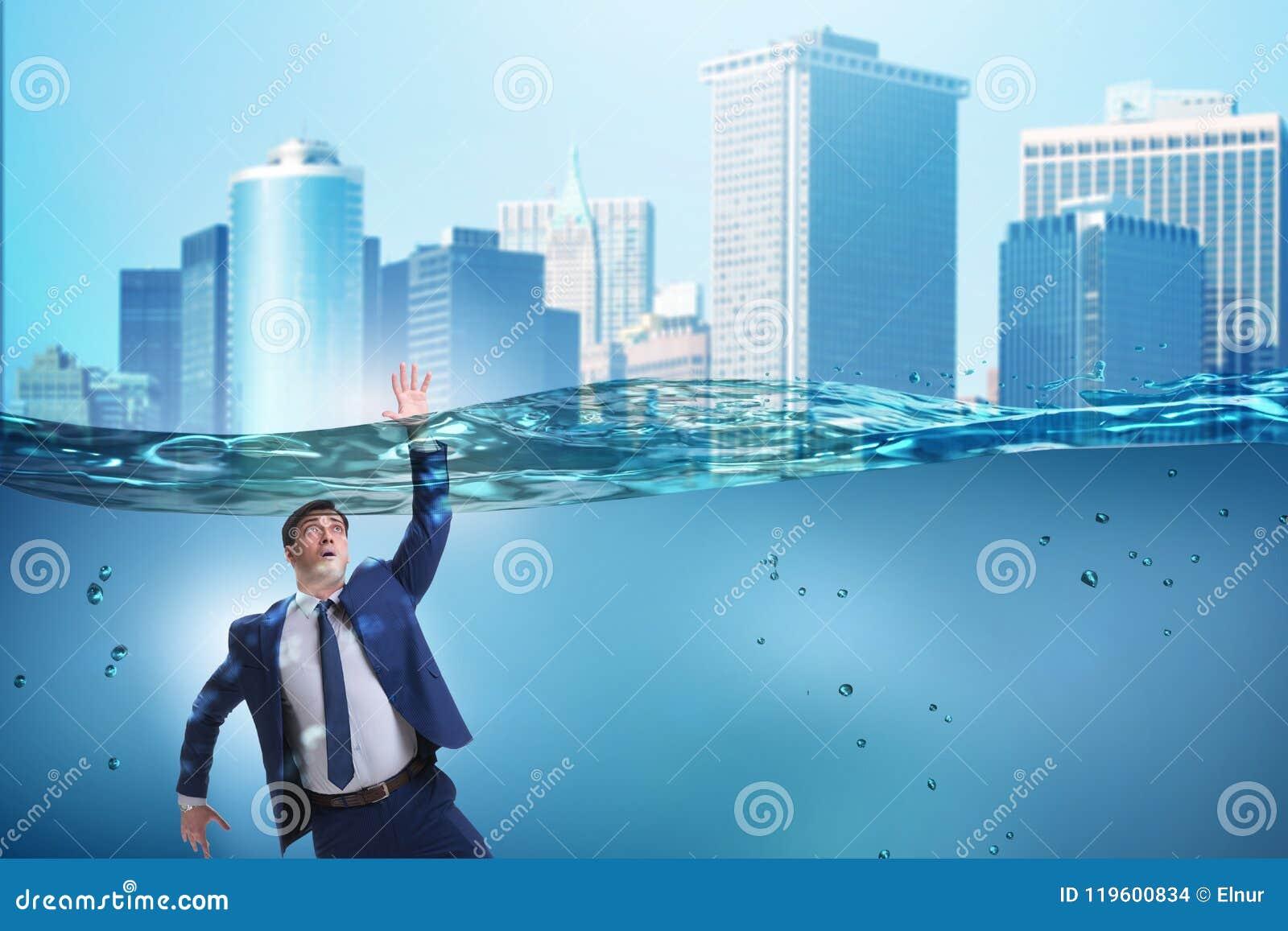 在不能溶解和破产概念的淹没的商人