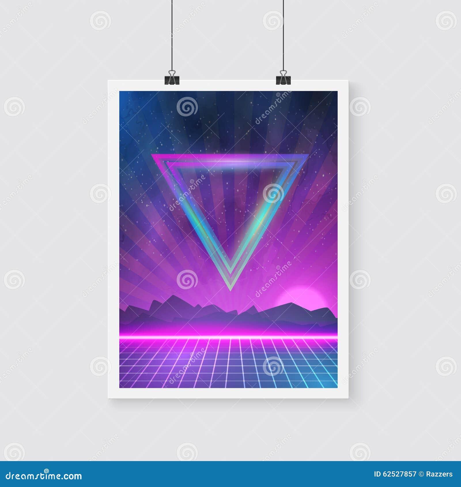 在与三角的Tron样式做的减速火箭的迪斯科80s霓虹海报