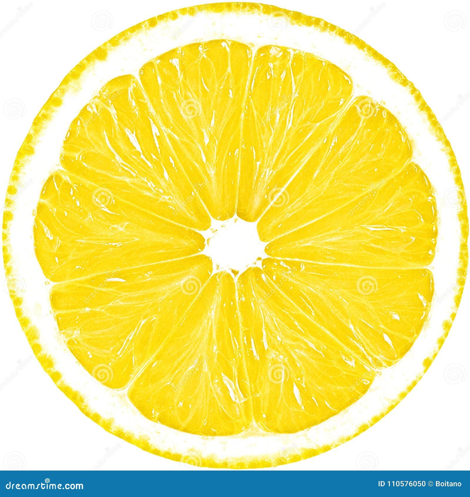 在与裁减路线的白色背景柠檬隔绝的水多的黄色切片