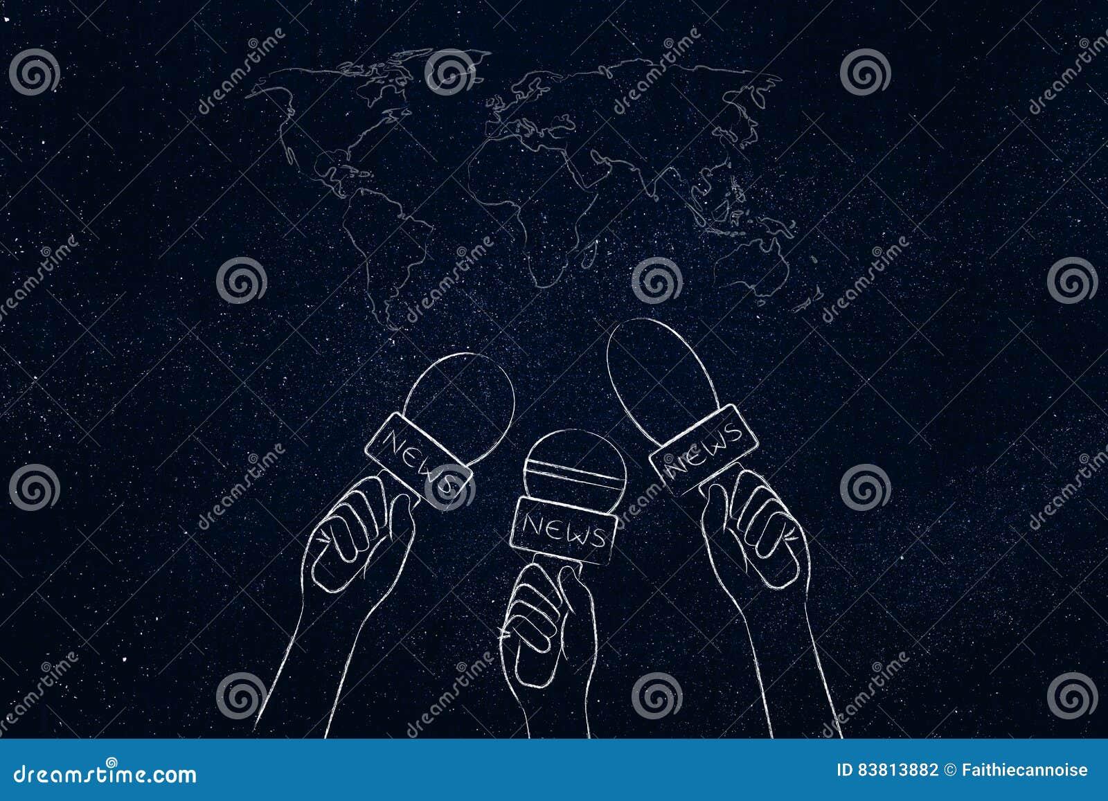 在世界地图、新闻报导&标题co的记者话筒