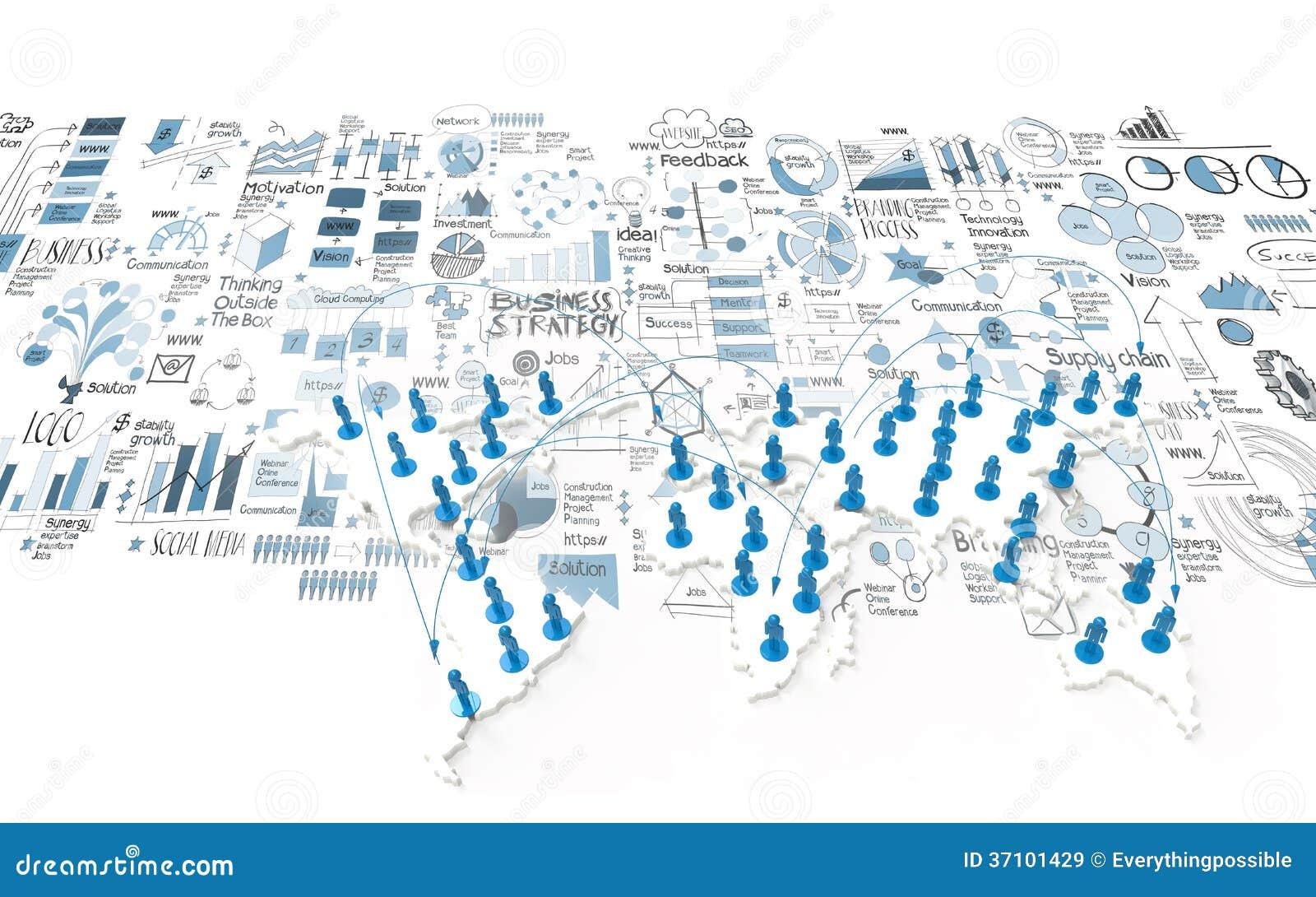 在世界地图的社会网络3d图片
