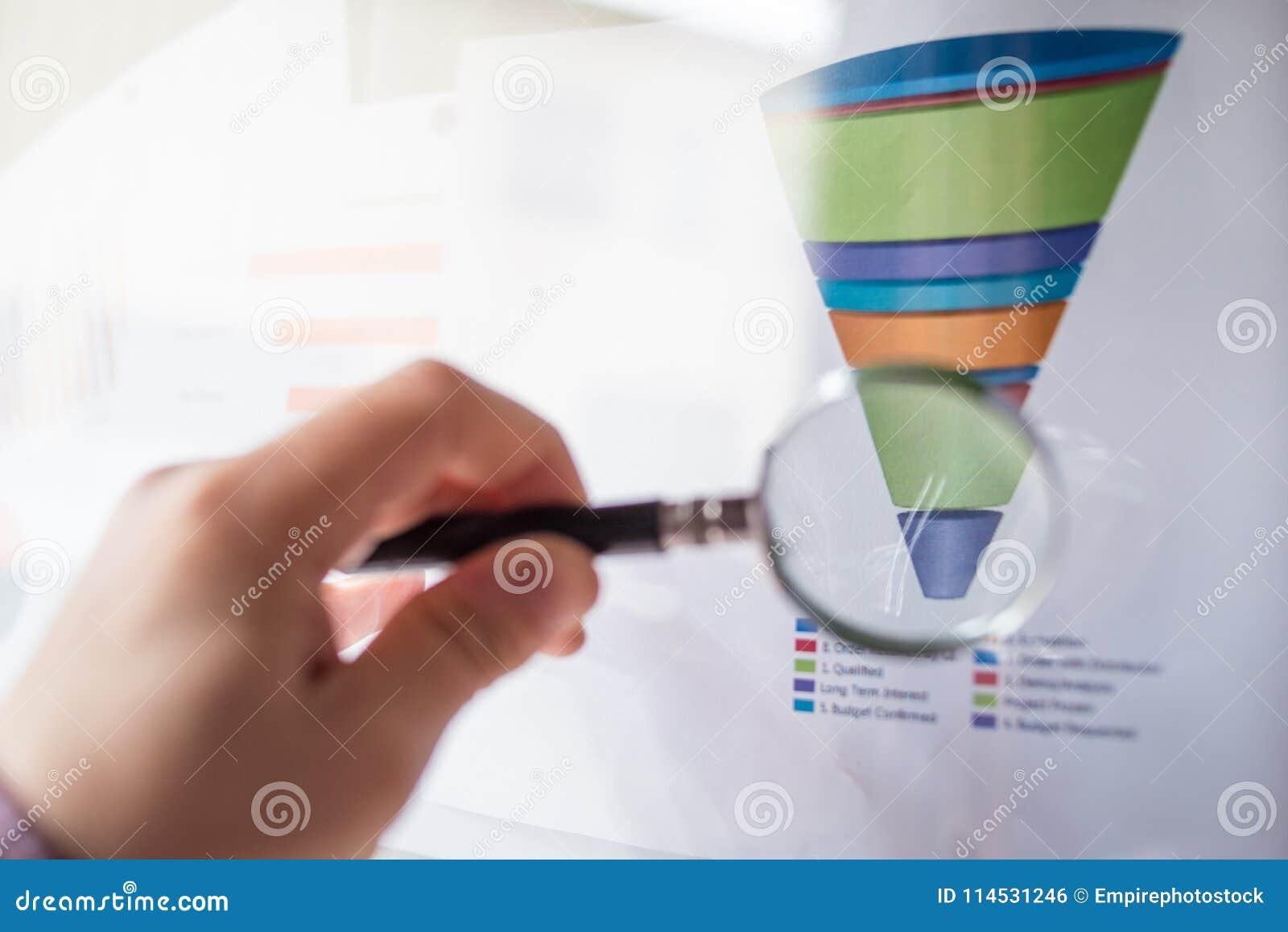 在业务会议期间,在一张色的漏斗图的放大器在一张白色纸片打印了
