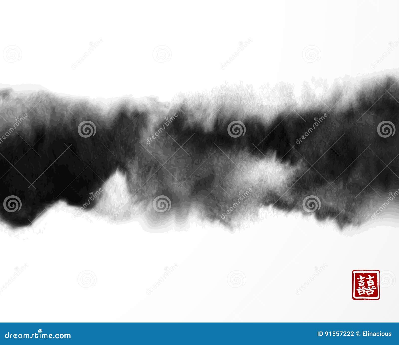 在东亚样式的抽象贷方洗涤绘画 Grunge纹理 包含象形文字-双重运气