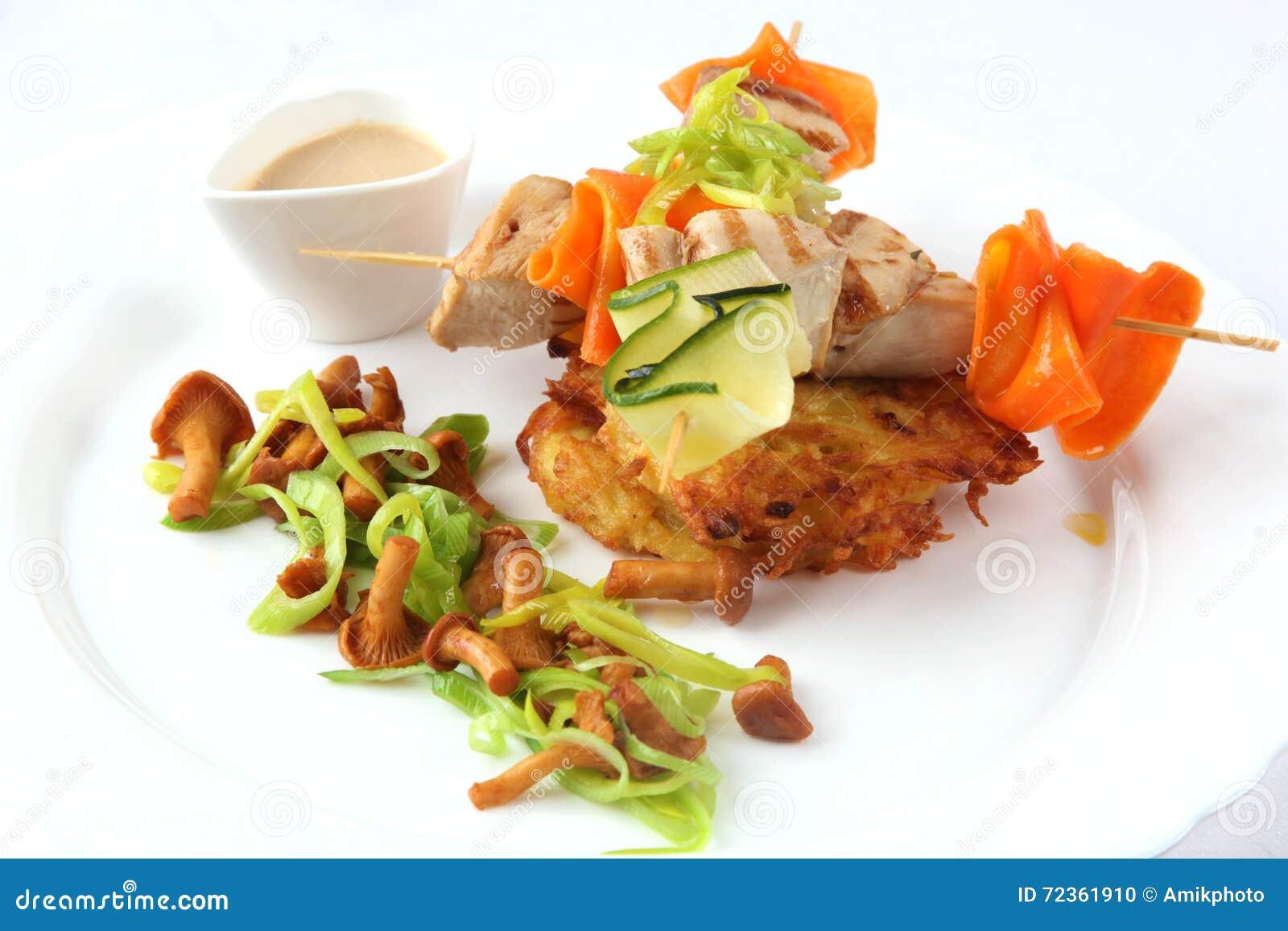 在串和蘑菇的鸡