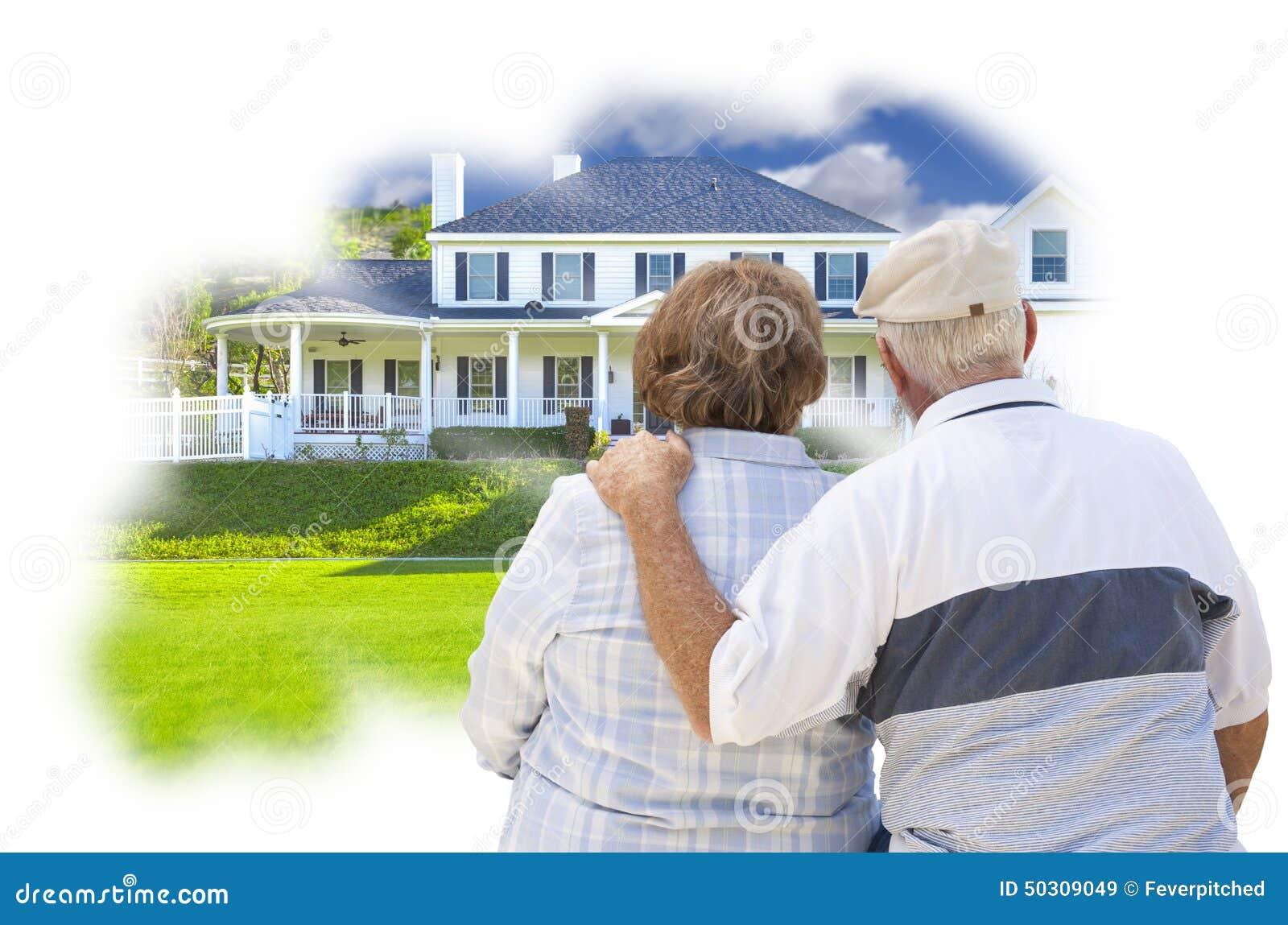 在习惯家庭照片想法泡影的作白日梦的资深夫妇